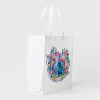 Beautiful Chicken and Flowers Reusable Grocery Bag