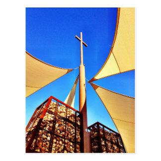 Beautiful Christian Church Cross Blue Sky Postcard