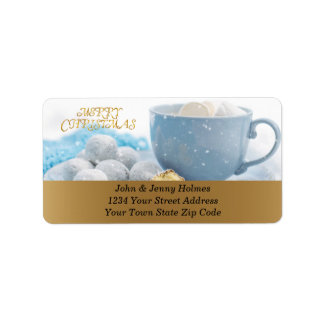 Beautiful Christmas atmosphere with hot chocolate Label