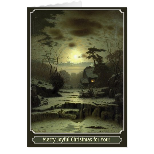 beautiful Christmas card with winter night artwork