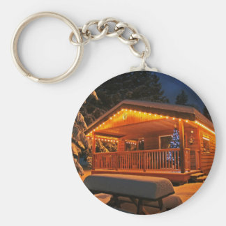 Beautiful Christmas Lights on Log Cabin in Snow Basic Round Button Key Ring