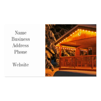 Beautiful Christmas Lights on Log Cabin in Snow Pack Of Standard Business Cards