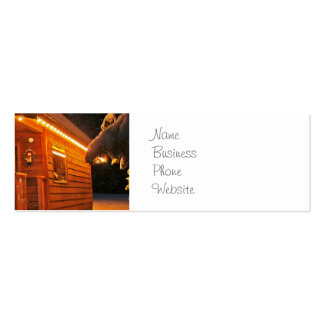 Beautiful Christmas Lights on Log Cabin in Snow Pack Of Skinny Business Cards
