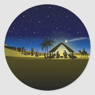 beautiful Christmas nativity image print Classic Round Sticker
