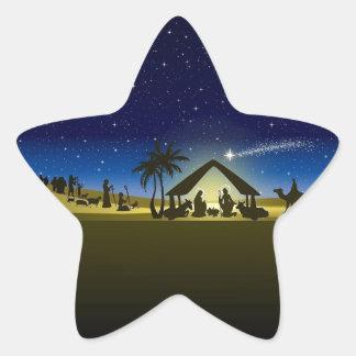 beautiful Christmas nativity image print Star Sticker