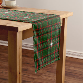 Beautiful Christmas Plaid, Red and Green, Sparkle Medium Table Runner