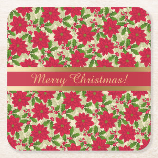 Beautiful Christmas Poinsettia, Holly, Pine branch Square Paper Coaster