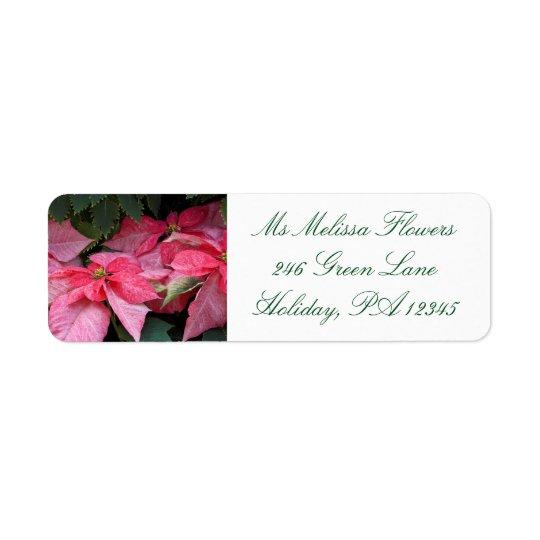 Beautiful Christmas Poinsettia Photo Return Address Label