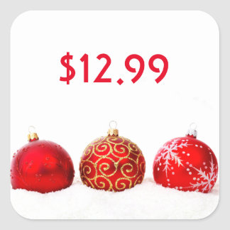 Beautiful Christmas Red Ornaments Price Tag Square Sticker