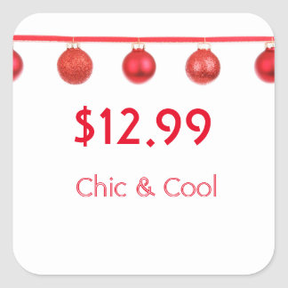 Beautiful Christmas Red Ornaments Price Tag Square Stickers