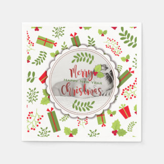 Beautiful Christmas Script Gifts Photo Disposable Napkins