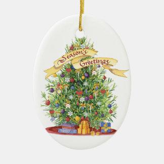 Beautiful Christmas Tree Banner Seasons Greetings Ceramic Oval Decoration