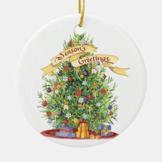 Beautiful Christmas Tree Banner Seasons Greetings Ornaments