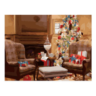 Beautiful Christmas Tree Living Room Scene Postcard