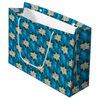 Beautiful Christmas White Poinsettia & Greenery Large Gift Bag