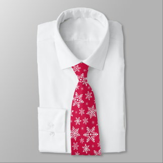 Beautiful Christmas white snowflakes on red Tie