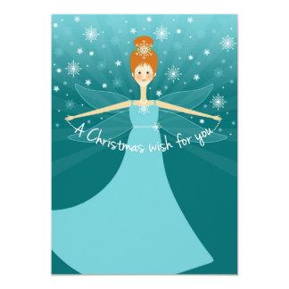 Beautiful Christmas Wish Fairy with Red Hair 13 Cm X 18 Cm Invitation Card