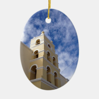 beautiful church and sky ceramic oval decoration