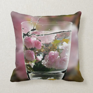 Beautiful Classy Chic Pink Flowers In Water Glass Cushion