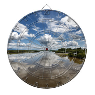 Beautiful clouds over river, reflection in water dartboard