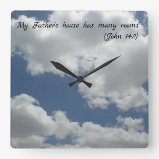 Beautiful Cloudy Sky Photo Print Bible Quote Square Wall Clock