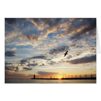 Beautiful Cloudy Sunset Over Lake Michigan Card