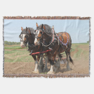 Beautiful clydesdale horses ploughing throw blanket