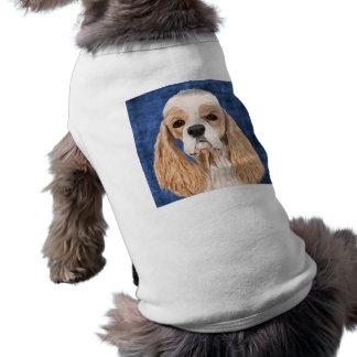 Beautiful Cocker Spaniel, Brown Creme Coat on Blue Sleeveless Dog Shirt