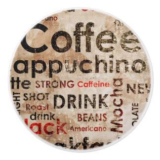 Beautiful Coffee Espresso Cappucino Pattern Ceramic Knob