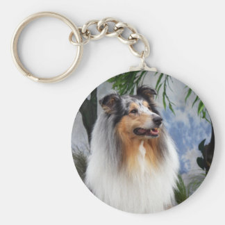 Beautiful Collie dog blue merle keychain, gift Basic Round Button Key Ring