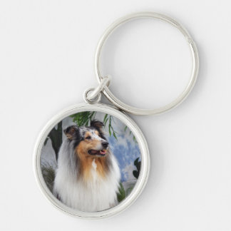 Beautiful Collie dog blue merle keychain, gift