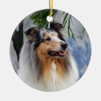 Beautiful Collie dog blue merle  ornament, gift Ceramic Ornament
