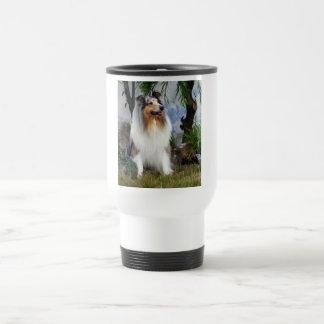 Beautiful Collie dog blue merle travel mug, gift Travel Mug