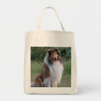 Beautiful Collie dog grocery tote bag, gift Grocery Tote Bag