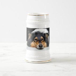 Beautiful Collie dog nose tri color stein tankard Beer Steins