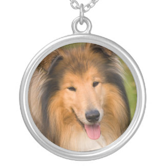 Beautiful Collie dog portrait necklace, gift idea Round Pendant Necklace