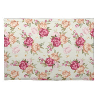 Beautiful color peony pattern on green placemat