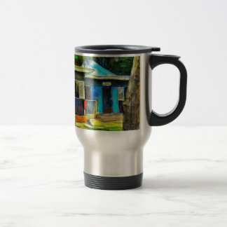 Beautiful colored cottages in a resort stainless steel travel mug