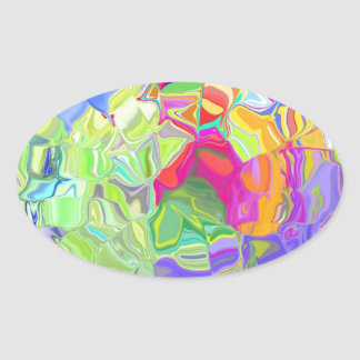 Beautiful Colorful Abstract Art Ice Cubes Gifts Oval Sticker