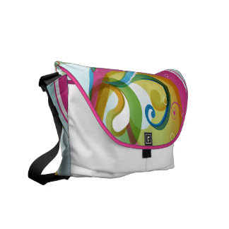 Beautiful Colorful Abstract Swirls & Bubbles White Commuter Bag