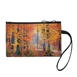 Beautiful colorful autumn forest sunbeams coin purse