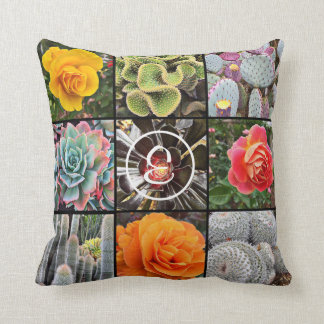 Beautiful, colorful cacti and roses close-up photo cushion