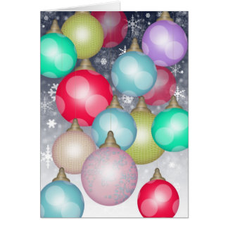 Beautiful Colorful Christmas Ornaments in the Snow Greeting Card