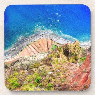 Beautiful colorful coastal landscape with blue sea coaster