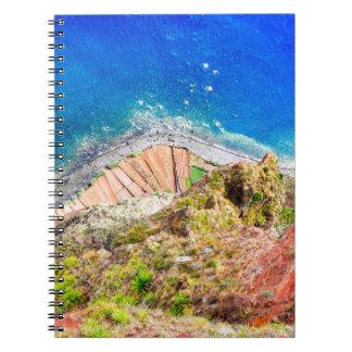 Beautiful colorful coastal landscape with blue sea notebook