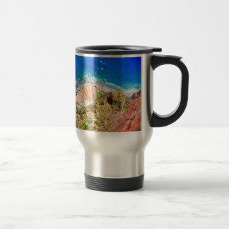 Beautiful colorful coastal landscape with blue sea travel mug