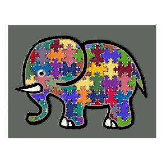 beautiful colorful elephant puzzle postcard
