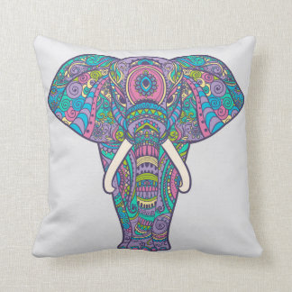 Beautiful colorful elephant throw pillow
