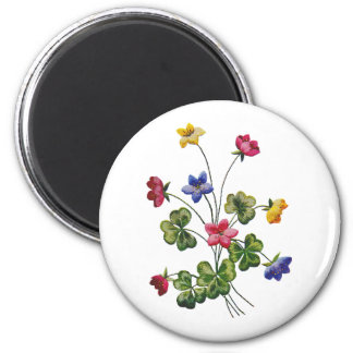 Beautiful Colorful Embroidered Wood Sorrel 6 Cm Round Magnet