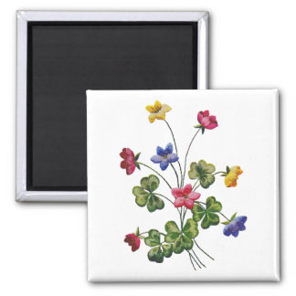 Beautiful Colorful Embroidered Wood Sorrel Square Magnet